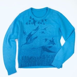 VTG Trendy Blue Canadian Geese Sweater